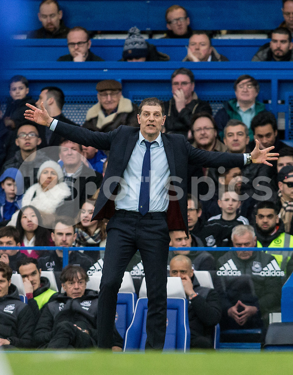 West Ham United Manager Slaven Bilić  during the Barclays Premier League match between Chelsea and West Ham United at Stamford Bridge, London, England on 19 March 2016. Photo by Steve Ball.