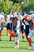 KELOWNA, BC - AUGUST 3:  Keagan Proudlock #25 of Okanagan Sun stands on the field during warm up against the Kamloops Broncos  at the Apple Bowl on August 3, 2019 in Kelowna, Canada. (Photo by Marissa Baecker/Shoot the Breeze)