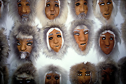 Alaska: Fairbanks.  Caribou masks from Anaktuvuk Pass.  Photo akfair105..Photo copyright Lee Foster, 510/549-2202, lee@fostertravel.com, www.fostertravel.com