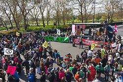 © Licensed to London News Pictures. 15/04/2019. London, UK. Environmental activists from the Extinction Rebellion movement block roads at Marble Arch as part of a series of direct actions taking place across the capital. The protests demand urgent action from governments on climate change. Photo credit: Rob Pinney/LNP