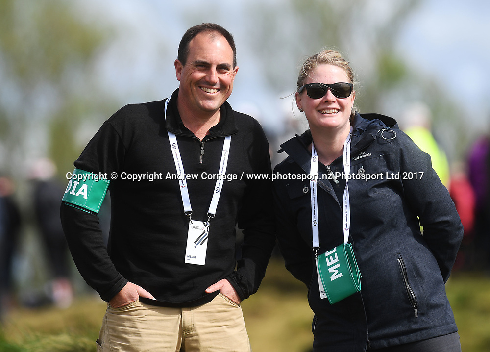 Journalists Andrew Alderson and Rikki Swannell.<br /> Round 2. McKayson NZ Women's Open 2017. LPGA Tour. Windross Farm, Auckland, New Zealand. Friday 29 September 2017. &copy; Copyright Photo: Andrew Cornaga / www.photosport.nz