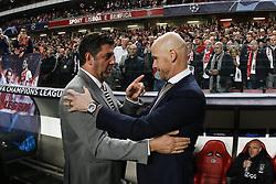 November 7, 2018 - Lisbon, Portugal - Rui Vitoria of Benfica cheers Erik ten Hag of Ajax  (R)  during Champions League 2018/19 match between SL Benfica vs Ajax Amsterdam, in Lisbon, on November 7, 2018. (Credit Image: © Carlos Palma/NurPhoto via ZUMA Press)