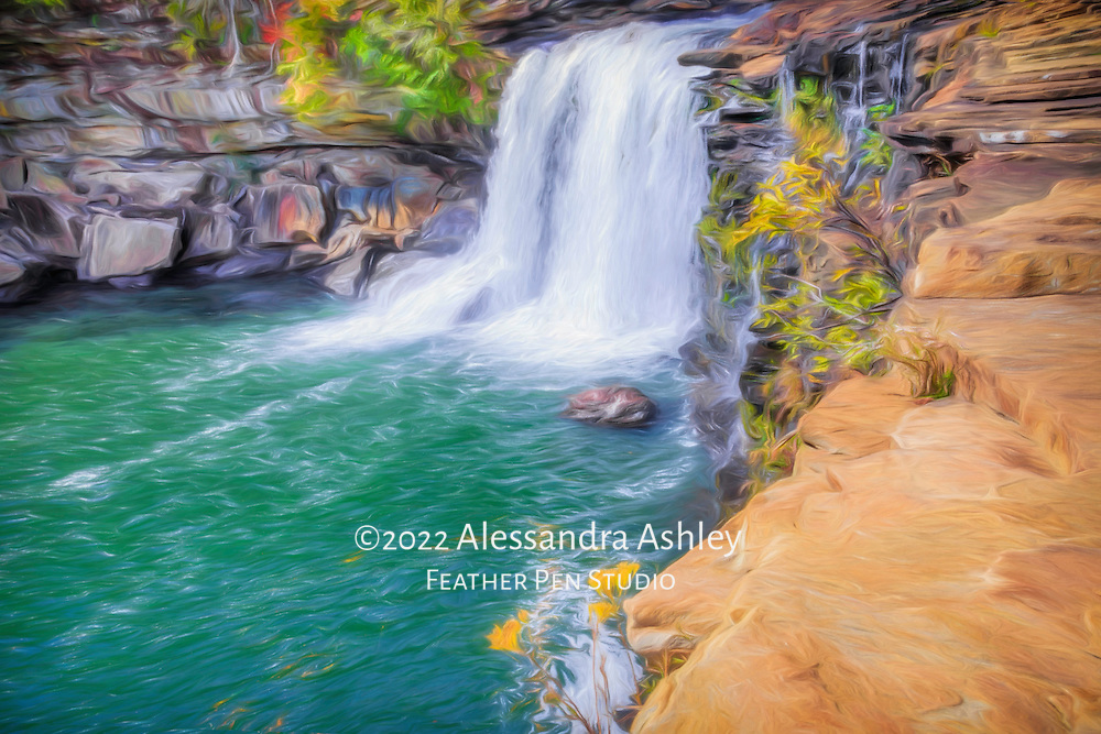 The powerful Little River Falls, in Little River Canyon National Preserve near Mentone, Alabama.  In 2014, the waterfall dropped a record-breaking flow of water, more than 11,000 cubic feet of per second. Painted effects blended with original photograph.