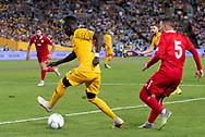 SYDNEY, AUSTRALIA - NOVEMBER 20: Australian forward Awer Mabil (25) takes the ball at the international soccer match between Australia and Lebanon at ANZ Stadium in NSW, Australia. on November 20, 2018. (Photo by Speed Media/Icon Sportswire)