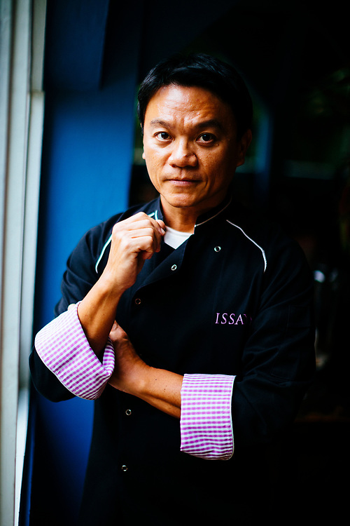 A portrait of chef Ian Kittichai at the Issaya Siamese Club restaurant in Bangkok, Thailand.