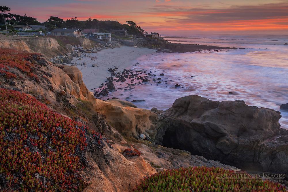 Evening light over coastal homes at  Moss Beach, San Mateo County coast, California