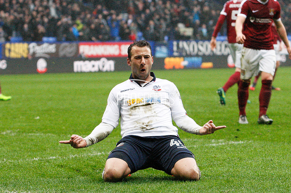 Bolton Wanderers Adam Le Fondre (45) celebrtaes his goal from the penalty spot 1-1 during the EFL Sky Bet League 1 match between Bolton Wanderers and Northampton Town at the Macron Stadium, Bolton, England on 18 March 2017. Photo by Craig Galloway.