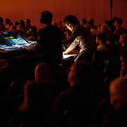 """June 8, 2012 - New York, NY : Computer music design and production, and sound engineering for the New York Philharmonic's performance of Pierre Boulez's """"...explosante-fixe..."""" (1991-93) was realized at IRCAM, the """"Institute De Recherche Et Coordination Acoustique/Musique."""" Pictured here are Frédéric Prin, left, and Carlo Laurenzi at the controls. The piece was one of three performed during The Metropolitan Museum of Art's Presentation of """"CONTACT!,"""" the new-music series of the New York Philharmonic on Friday night. CREDIT: Karsten Moran for The New York Times"""