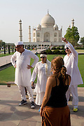 India, Uttar Pradesh, Agra, The Taj Mahal The three Israeli Judges of the Israeli version of American Idol on site scouting for talent Left to right Zvika Hadar Margalit Tzanani and Gal Uchovski
