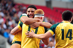 Campbell Magnay of Australia U20 is congratulated on his try - Mandatory byline: Patrick Khachfe/JMP - 07966 386802 - 25/06/2016 - RUGBY UNION - AJ Bell Stadium - Manchester, England - Australia U20 v New Zealand U20 - World Rugby U20 Championship 2016 5th Place Play-Off.