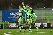 Forest Green Rovers Jack Aitchison(29), on loan from Celtic scores a goal 3-0 and celebrates during the The FA Cup match between Forest Green Rovers and Billericay Town at the New Lawn, Forest Green, United Kingdom on 9 November 2019.