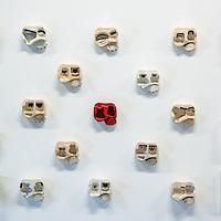 Exposée à la galerie Georges Verney – Carron à Lyon, l'artiste péruvienne Patricia Camet présente son œuvre Emoticons, une juxtaposition de moulages en céramique, organisés en mètres carrés. Ces moulages sont autant de portraits simplistes (traits des yeux et de la bouche uniquement) qui frappent par l'association paradoxale de leur familiarité et de leur étrangeté, de caractéristiques anthropologiques et industrielles. En effet, ce n'est qu'après coup que l'on se rend compte que les modèles de ces moulages font partie de notre quotidien, qu'ils sont ces emballages en plastique standardisés qui conditionnent nos produits de consommation.