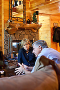 Top selling author Karin Slaughter does all her writing in a cabin in Epworth, Georgia. Her father Howard built the 2,400 square foot cabin for her. She listens to him in the living room of the cabin, June 13, 2010..CREDIT: Kendrick Brinson/LUCEO.KarinSlaughter
