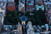 Aerial view of Washington Square park at dusk, photographed from a helicopter.