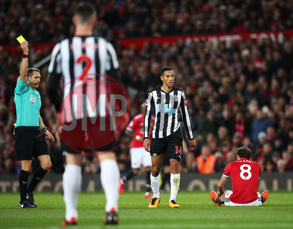 Isaac Hayden of Newcastle United is shown a yellow card - Mandatory by-line: Matt McNulty/JMP - 18/11/2017 - FOOTBALL - Old Trafford - Manchester, England - Manchester United v Newcastle United - Premier League