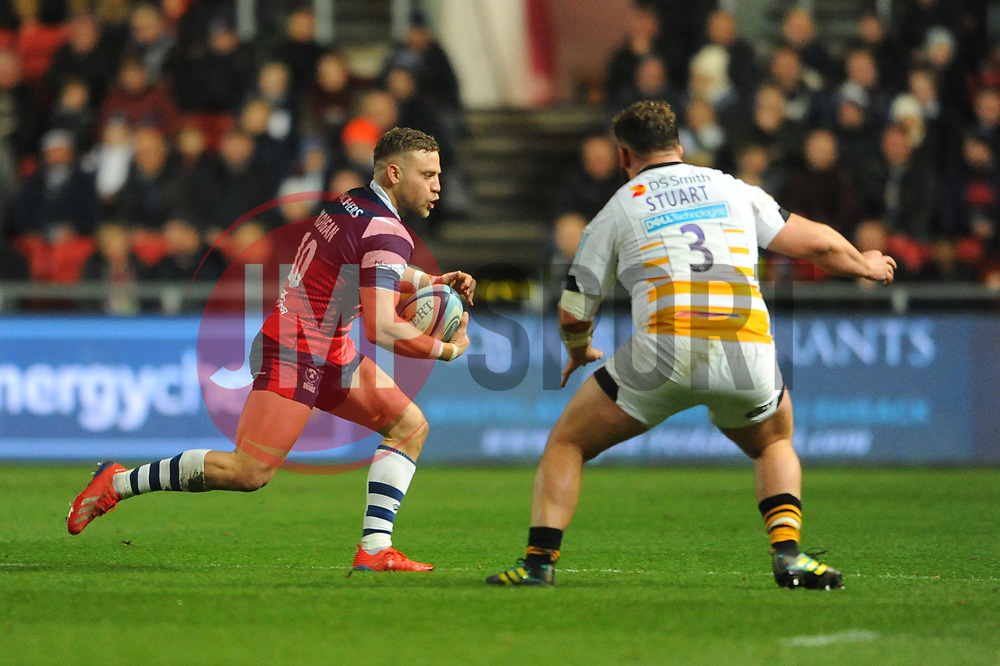 Ian Madigan of Bristol Bears tries to get past Will Stuart of Wasps - Mandatory by-line: Nizaam Jones/JMP - 15/02/2019 - RUGBY - Ashton Gate Stadium - Bristol, England- Bristol Bears v Wasps - Gallagher Premiership Rugby