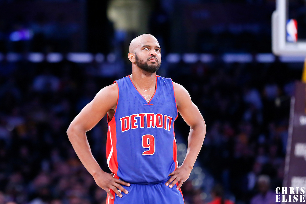 10 March 2015: Detroit Pistons guard John Lucas III (9) rests during the Los Angeles Lakers 93-85 victory over the Detroit Pistons, at the Staples Center, Los Angeles, California, USA.