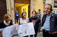 Roma 23 Maggio 2013.Manifestazione davanti alla sede del Partito Democratico  organizzata dal Coordinamento delle scuole di Roma e dal Coordinamento precari scuola Roma a sostegno del Referendum di Bologna del 26 Maggio prossimo contro i finanziameto alle scuole private e del rifinanziamento della scuola pubblica. Un manifestante con la maschera di Epifani e Renato Brunetta