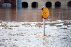 On the day the environment Agency announce there is no longer a drought in Yorkshire, this is the view of the Kings Staith York where river Ouse has risen flooding local roads and businesses after the wettest April since records began. .11  May 2012.Image © Paul David Drabble