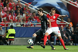 September 12, 2017 - Lisbon, Portugal - Benfica's Suisse forward Haris Seferovic fights for the ball with CSKA's defender Mario Fernandes (R ) during UEFA Champions League football match SL Benfica vs CSKA Moscow at the Luz stadium in Lisbon, Portugal on September 12, 2017. Photo: Pedro Fiuza (Credit Image: © Pedro Fiuza via ZUMA Wire)