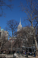 New York, madisson square park, Shake Shak, restaurant terrace  , the  Life insurance company building New York, Manhattan - United states
