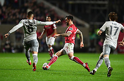 Marlon Pack of Bristol City takes the ball away from Marcos Rojo of Manchester United  - Mandatory by-line: Joe Meredith/JMP - 20/12/2017 - FOOTBALL - Ashton Gate Stadium - Bristol, England - Bristol City v Manchester United - Carabao Cup Quarter Final