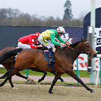 Mossy's Lodge - William Carson wins from Lady lloyd - Luke Morris<br /> The &pound;10 Free At 32Red.com Median Auction Maiden Fillies&acute; Stakes<br /> Lingfield Park<br /> 17/2/16.<br /> &copy;Cranhamphoto.com