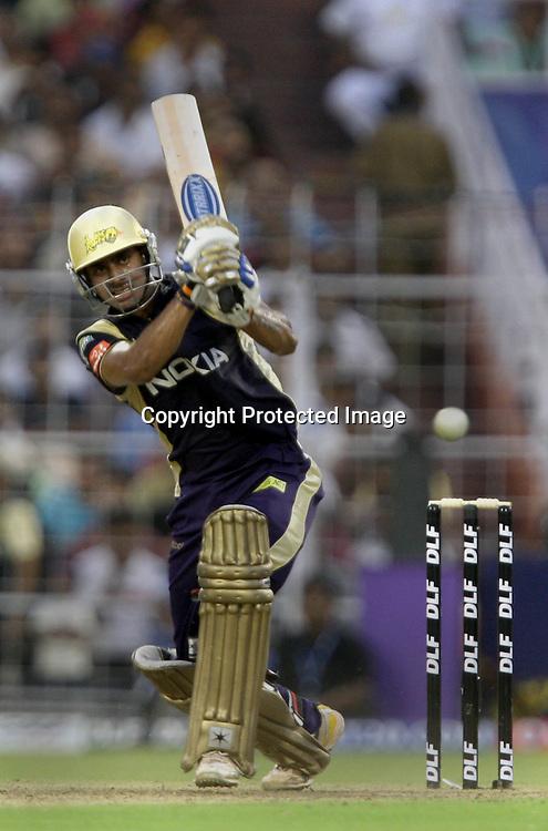 Kolkata Knight Riders Batsman Manoj Tiwary Hit The Shot Against  Kings XI Punjab During The Kolkata Knight Riders vs Kings XI Punjab 34th match Twenty20 match | 2009/10 season Played at Eden Gardens, Kolkata <br />4 April 2010 - day/night (20-over match)