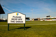 Please keep off the grass sign during the EFL Sky Bet League 2 match between Mansfield Town and Northampton Town at the One Call Stadium, Mansfield, England on 29 September 2018.