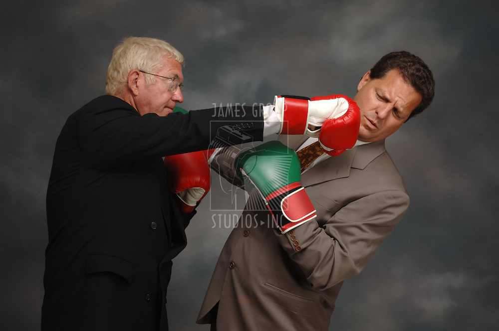 CEO punching another businessman in the jar with boxing gloves