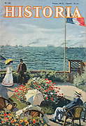 Front cover of issue no. 105 of Historia, a monthly history magazine, published August 1955, featuring an article on the centenary of Queen Victoria's visit to Paris in 1855, with Claude Monet's painting Garden at Sainte-Adresse on the cover. Historia was created by Jules Tallandier and published 1909-37 and again from 1945. Picture by Manuel Cohen