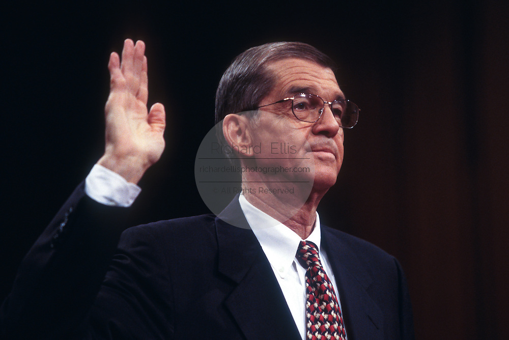 WASHINGTON, DC - September 10: Donald Fowler, former DNC Chairman, testifies in the senate government affairs committee on campaign finance in Washington, DC. September 10, 1997  (Photo RIchard Ellis)