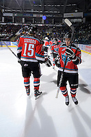 KELOWNA, CANADA, OCTOBER 20: Cody Chikie #14 of the Kelowna Rockets takes part in a pre-game ritual as  the Vancouver Giants visited the Kelowna Rockets on October 20, 2011 at Prospera Place in Kelowna, British Columbia, Canada (Photo by Marissa Baecker/shootthebreeze.ca) *** Local Caption *** Cody Chikie;