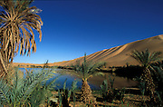 The stunning Ubari Lakes in the giant sand dunes of the Sahara, Libya