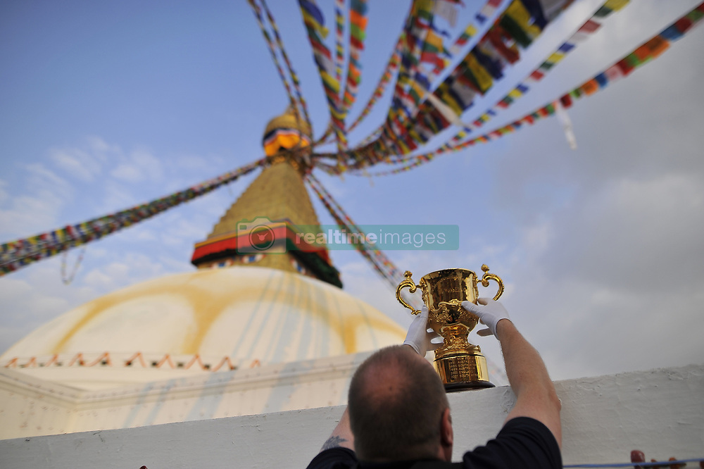 December 7, 2018 - Kathmandu, Nepal - Official arranging the Webb Elllis Rugby World Cup 2019 Trophy infront Boudhanath Stupa, UNESCO World heritages site during a country tour in Kathmandu, Nepal on Friday, December 07, 2018. The 2019 Rugby World Cup will be the ninth Rugby World Cup, and is to be hosted by Japan from 20 September to 2 November, 2019. (Credit Image: © Narayan Maharjan/NurPhoto via ZUMA Press)