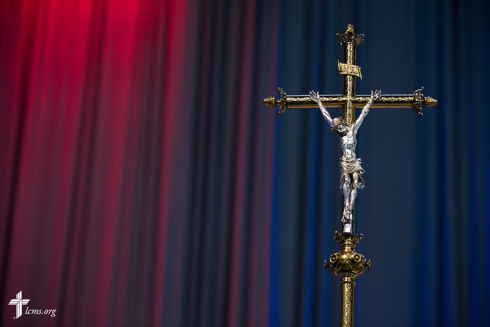 The processional crucifix during the Opening Divine Service of the 66th Regular Convention of The Lutheran Church–Missouri Synod on Saturday, July 9, 2016, at the Wisconsin Center in Milwaukee. LCMS/Michael Schuermann