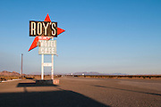 The sign for Roy's Motel and Cafe along Route 66 in the California Desert.