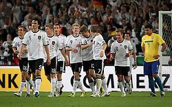 GER, Commerzbank Arena, GER, Stuttgart, FSP, LS, Deutschland (GER) vs Brasilien (BRA), im Bild .. Torjubel Deutschland nach dem 3:1 durch Andre Schürrle (Mitte/GER/Bayer 04 Leverkusen) // durch the friendly ship between Germany (GER) vs Brasil (BRA) in Commerzbank Arena, Stuttgart, on 2011/08/11 EXPA Pictures © 2011, PhotoCredit: EXPA/ nph/  Hessland       ****** out of GER / CRO  / BEL ******