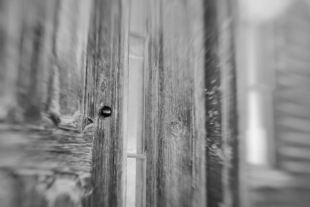 Distressed Wood Door - Bodie, CA - Lensbaby - Black & White