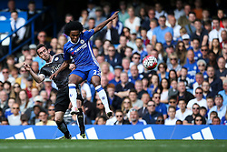 Willian of Chelsea intercept the ball from Christian Fuchs of Leicester City - Mandatory byline: Jason Brown/JMP - 15/05/2016 - FOOTBALL - London, Stamford Bridge - Chelsea v Leicester City - Barclays Premier League