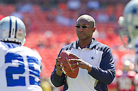 18 September 2011: Secondary coach Brett Maxie of the Dallas Cowboys warms up the Cowboys before the Cowboys 27-24 overtime victory against the 49ers in an NFL football game at Candlestick Park in San Francisco, CA.
