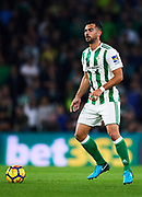 SEVILLE, SPAIN - NOVEMBER 03:  Jordi Amat of Real Betis Balompie in action during the La Liga match between Real Betis and Getafe at Estadio Benito Villamarin  on November 3, 2017 in Seville, .  (Photo by Aitor Alcalde Colomer/Getty Images)