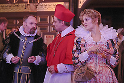 """© Licensed to London News Pictures. 14 January 2014. London, England. L-R: JOHN DOUGALL as Castuccio, JAMES GARON as Cardinal and DENISE GOUGH as Julia. Actress Gemma Arterton stars as the Duchess in the play """"The Duchess of Malfi"""" by John Webster. This is the first production to take place at the Sam Wanamaker Playhouse at the Globe Theatre. The performance is only lit by candles. Directed by Dominic Dromgoole. Photo credit: Bettina Strenske/LNP"""