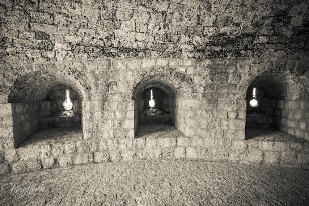 Gun turrets on the Great Wall, Ston, Dalmatian Coast, Croatia