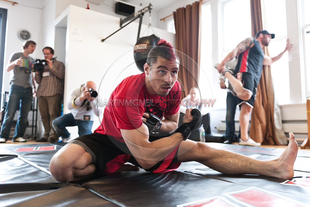 """NEW YORK, NEW YORK, MARCH 25, 2010: Dan Hardy is pictured at the media open work-out sessions for """"UFC 111: St. Pierre vs. Hardy"""" at Peak Performance Strength and Conditioning Center in Manhattan on March 25, 2010."""