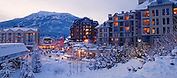 Whistler Village glows on a  winter evening.