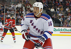 November 14, 2007; Newark, NJ, USA;  New York Rangers left wing Sean Avery (16) skates during the first period of the Rangers game against the New Jersey Devils at the Prudential Center in Newark, NJ.