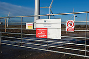 Keep out notices at  Sancton Hill Wind Farm, East Yorkshire, situated within the Yorkshire Wolds.