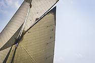 "FRANCE, St Tropez. 6th October 2012. Voiles de St Tropez. 15-metre class, D1 ""Mariska"" built in 1908. Designed by William Fife III."