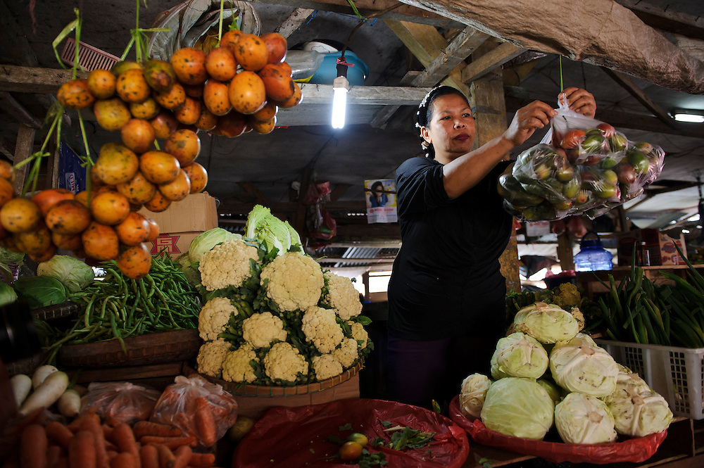 Stall holders selling fruit, vegetables and other products grown in the surrounding area, Malino, Sulawesi, Indonesia.